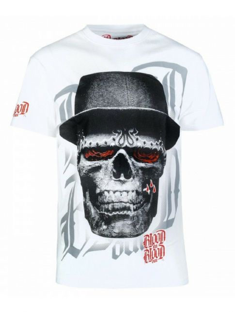 Blood in Blood Tričko Skull Hat White