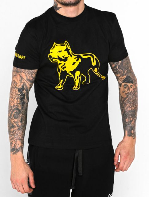 Amstaff Tričko Logo - black/yellow